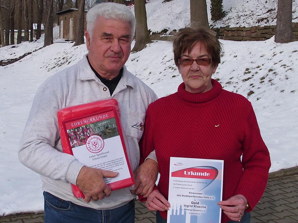 Geehrt  bei der Jahreshauptversammlung Ingrid Klasche und Erhart Dinkel von der Sektion Kegeln